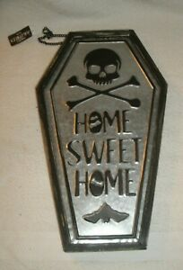 Home sweet home coffin Halloween metal and wood large wall decor bat skull bones