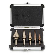 5 Pcs Large Titanium HSS Step Cone Drill Hole Cutter Bit Set Tool + Case Y8O7