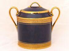 LEGLE LIMOGES Cobalt Blue Incrusted Gold Gilt Moka Coffee Demitasse - Sugar Box