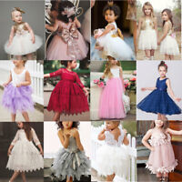 Baby Girls Toddler Bow Tulle Tutu Dress Kids Wedding Bridesmaid Dresses Princess