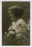 1910s Glamour Glamor SMILING YOUNG BEAUTY Lady photo postcard