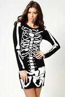Ladies Halloween Skeleton Hand Printed Choker Neck T-Shirt Top Dress 8-26