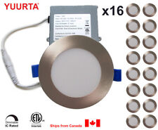 """YUURTA (16-pack) 4"""" 10W Dimmable LED Recessed Ceiling Downlight Brushed Nickel"""
