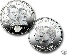 manueduc  12 EUROS  ESPAÑA 2004 BODA D. FELIPE y  Dña LETICIA 18,2 Gr PLATA
