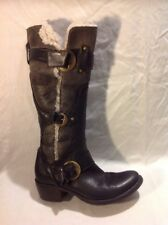 MANAS Design Black Knee High Leather Boots Size 37