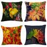 Autumn Leaves Cotton Linen Pillow Case Sofa Throw Cushion Cover Home Decor