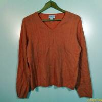 CHARTER CLUB Vneck 2-ply CASHMERE L/S Sweater Womens Size L orange