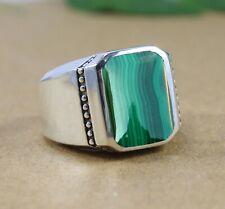 Malachite Gemstone Solid 925 Sterling Silver Dailywear Mens Ring Jewelry