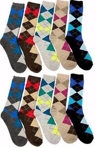 10 Pairs Mens Argyle Dress Socks NEW Fashion Casual Colors #BURUKA Size: 10-13