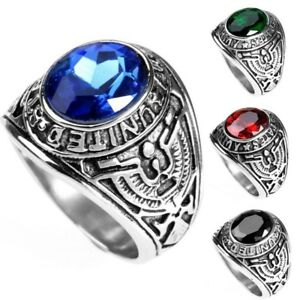 Men Vintage Stainless Steel Ruby Crystal United States Eagle Military Ring