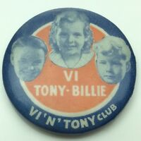 Tony and Billy Club VI Pin Back Button Missing Pin C778