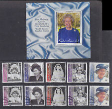 Gibraltar 2001 Mint MNH Used CTO Set Minisheet Queen Elizabeth II 75th Birthday