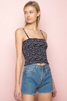 New! Brandy Melville navy blue/white floral smocked cropped Ally tank top NWT