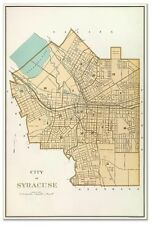 City of SYRACUSE New York Downtown MAP circa 1895 - Vintage Street Repro Poster