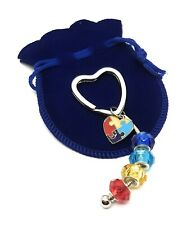 Autism Key Chain Awareness Heart Puzzle Piece Charm Glass Beads in Gift Bag