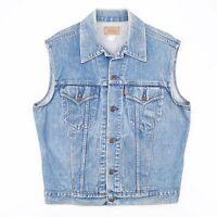Vintage LEVI'S  Blue 90s Cotton Casual Denim Waistcoat Mens L
