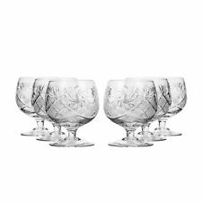 10 Oz Crystal Cut Brandy Snifters, Vintage Cognac Whisky Glasses, 6-pc Set