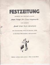 Historische Hochzeitszeitung 1936 Hamburg Jänichen/Hagelweiß Gänsemarkt