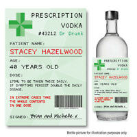 Personalised Prescription VODKA GIN bottle label Sticker  Birthday Wedding 102