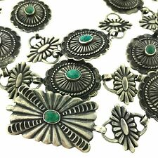 Native American Children's Sterling Silver Green Turquoise Concho Belt