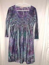 One world dress  Velour 3/4sl. Blue purple paisley peacock print sz. M Medium