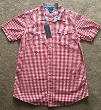 Boys Genuine Tommy Hilfiger Red & White Check Shirt Short Sleeve BNWT L 16/18
