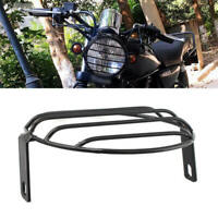 Motorcycle Scooter Front Headlight Mesh Grill Retro Guard Lamp Cover Metal Black