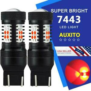 2x AUXITO 7443 7440 7444 CK-WIRED Red Brake Tail Stop LED Light Bulbs For Chevy