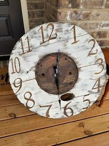 LARGE RUSTIC FARMHOUSE WALL CLOCK  32""
