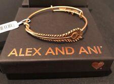 Alex And Ani PEACOCK FEATHER WRAP Bracelet NWT CARD & BOX Rafaelian GOLD FINISH
