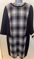 M&S Autograph Wool Blend Check Dress UK 14 Faux Leather 3/4 Sleeve Autumn Winter