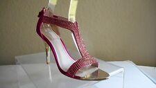 Glint Devyn Pink Fusia Rhinestone Sandals Heels Strappy Wedding Shoes Size 7