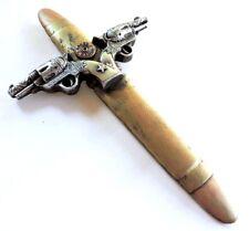 Pistol Cross Gun Shell Wall Decor 12x7 inches Polyresin New