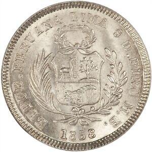 Peru 1858 1/2 Real CHOICE BU MS64 NGC