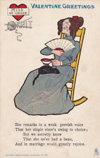 TUCK #5, VALENTINE Greetings, Woman in chair black cat in lap, PU-1911