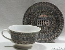 Vtg Greek Athens Museum Porcelain Cup and Saucer Geometric Amphora Vassilopoulos
