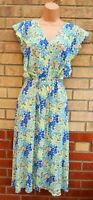 FLORENCE FRED MINT GREEN BLUE PINK FLORAL BUTTONED BELTED FRILL A LINE DRESS 16