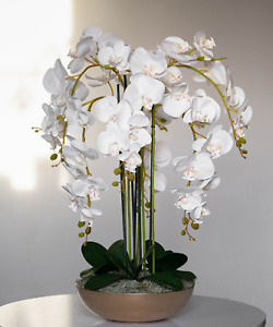 Extra large amazing hand made artificial white orchid in gold round bowl