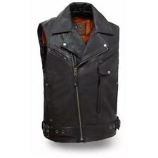 NWT FIRST MANUFACTURING RECKLESS OUTLAW BLACK LEATHER VEST PISTOL POCKETS LARGE