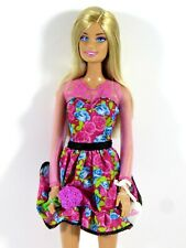 LOT #138 DRESSED BARBIE DOLL FASHIONISTAS IN FLORAL DRESS ACCESSORIES & SHOES
