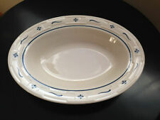 Longaberger Woven Traditions Pottery Oval Serving Bowl/Dish~Classic Blue~Usa