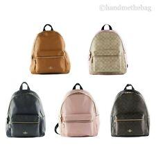 Coach Large Charlie Signature Coated Canvas Leather Backpack BookBag Bag