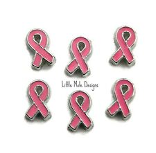 'Pink Ribbon' Floating Charm For Living Memory Locket Necklace Memory Awareness