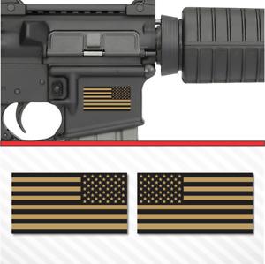 2X American Flag Flat Dark Earth Sticker Vinyl Decal AR-15 Lower Tactical FDE