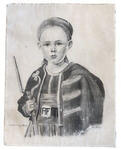 Curieux dessin représentant un enfant en uniforme de ZOUAVE 1907 Signé militaria