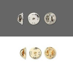 Lot of 10 Tie Tac Lapel Pin Squeeze Clutch Back Backings for Pins Plated Metal