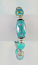 Teal Glass & Polymer Clay Strech Bracelet w/ Pewter Accents 8 Inches in Length