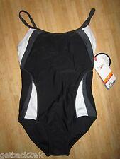 NEW* Speedo 5/6 Swimsuit RACING ATHLETIC $78 Black Grey White