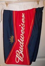 Budweiser Bud Beer Navy Blue Red Board Swim Trunks Shorts Mens Size 30 NWT