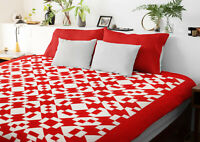 Unusual Red & White Hour Glass, Chain variation- Graphic FINISHED QUILT